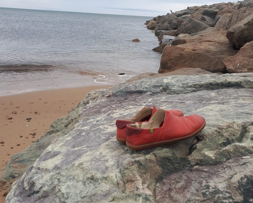 shoes on rock